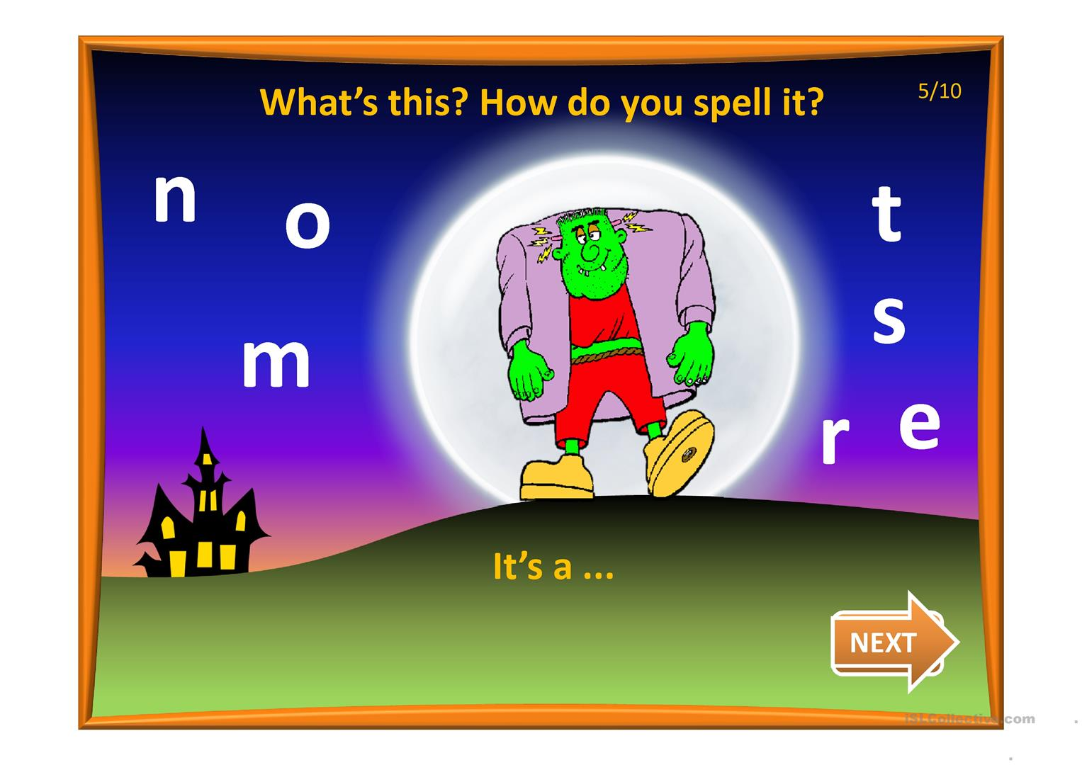 Halloween Spelling Game Worksheet