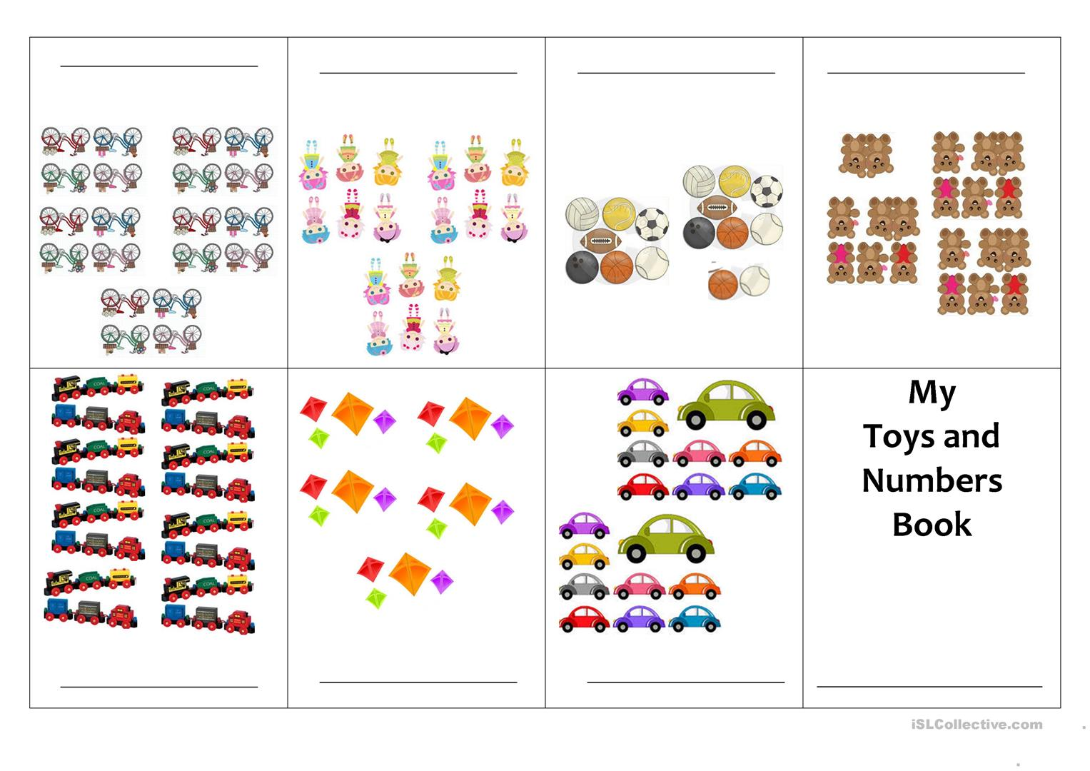 Mini Books Number And Toy Worksheet