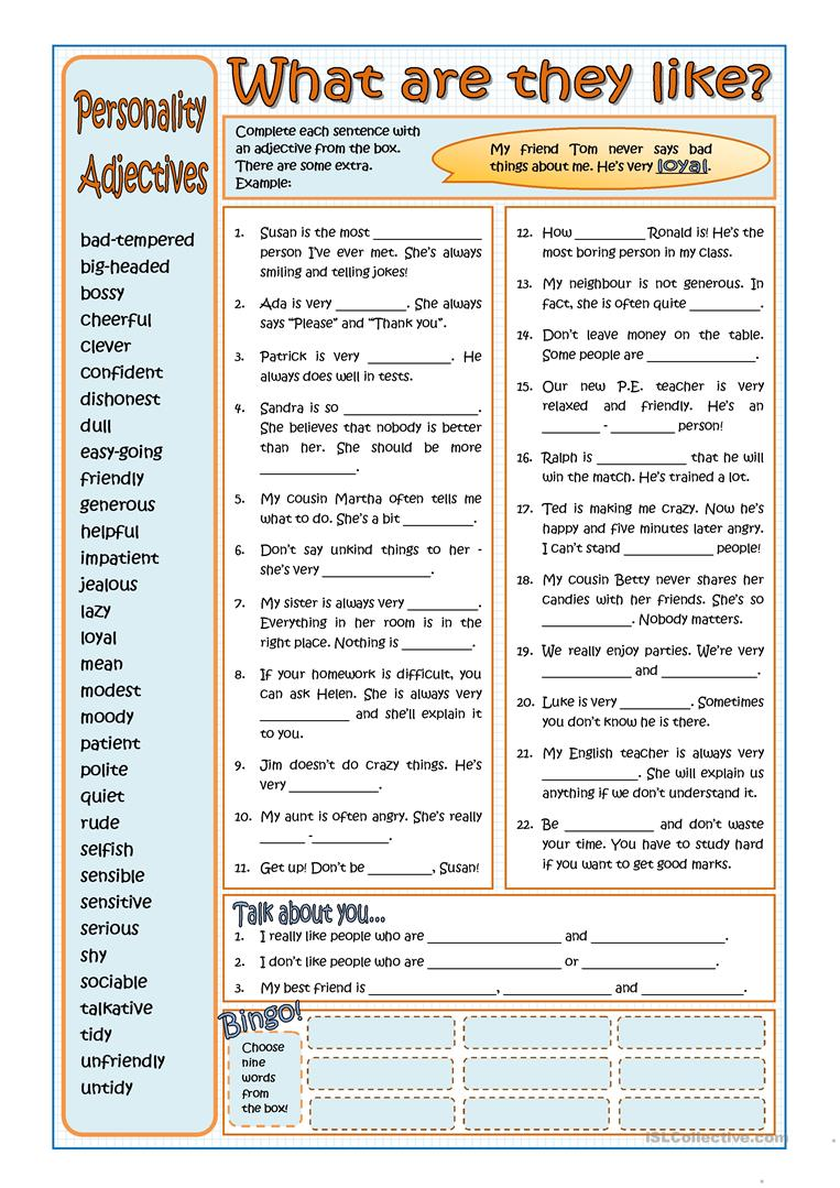 medium resolution of PERSONALITY ADJECTIVES - English ESL Worksheets for distance learning and  physical classrooms