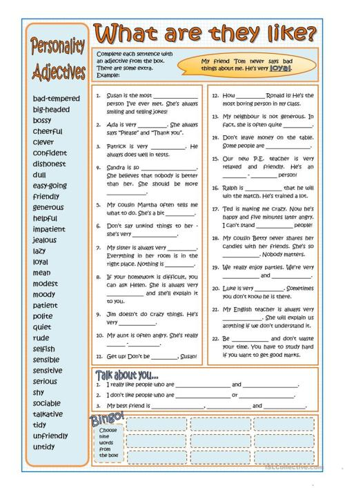 small resolution of PERSONALITY ADJECTIVES - English ESL Worksheets for distance learning and  physical classrooms