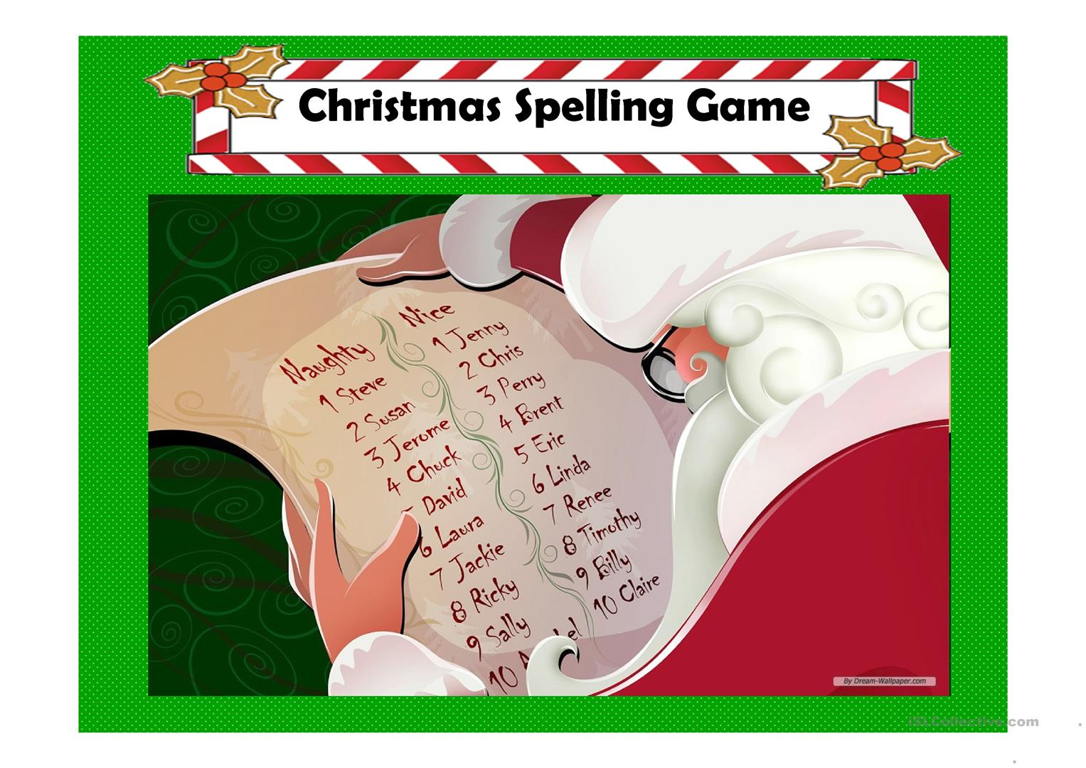 Christmas Spelling Game Worksheet