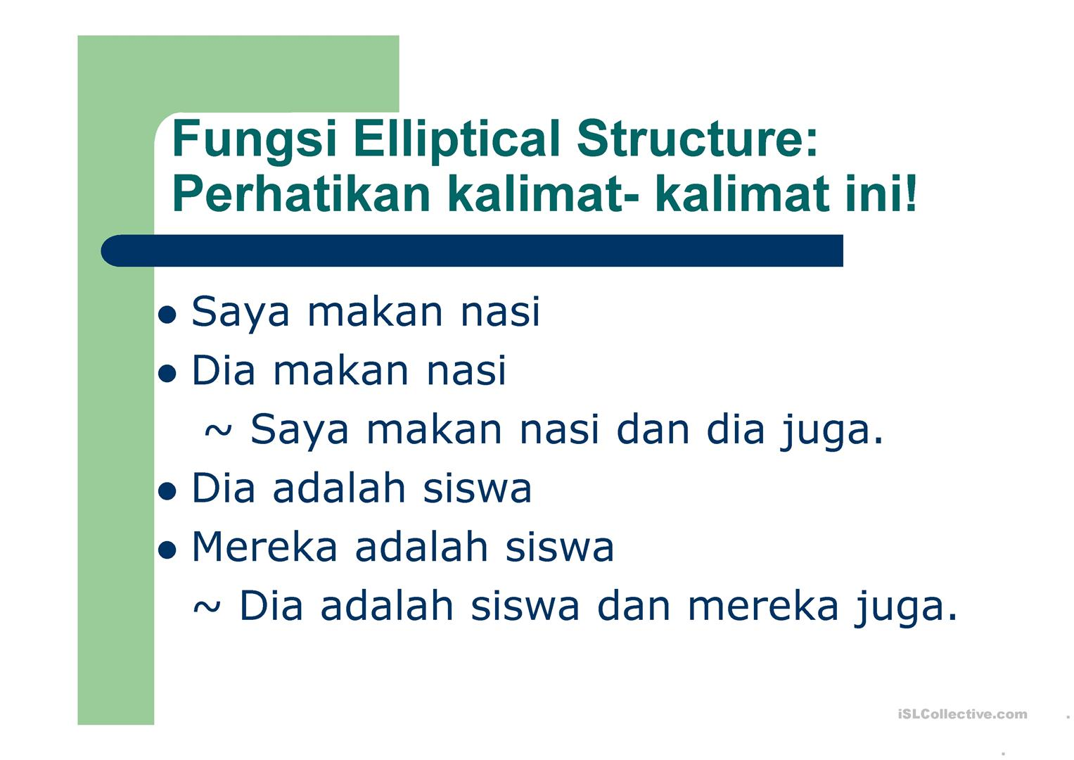 Elliptical Structure Explanation In Bahasa Indonesia