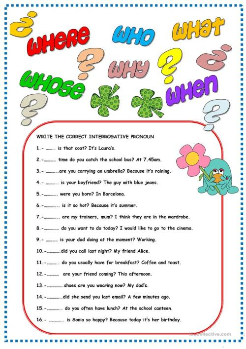 small resolution of INTERROGATIVE PRONOUNS - English ESL Worksheets for distance learning and  physical classrooms