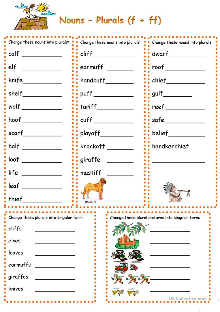 Plurals with f.ff.fe - English ESL Worksheets for distance learning and physical classrooms