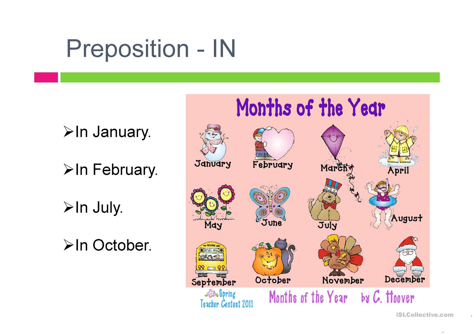 Prepositions In On With Days And Dates Worksheet