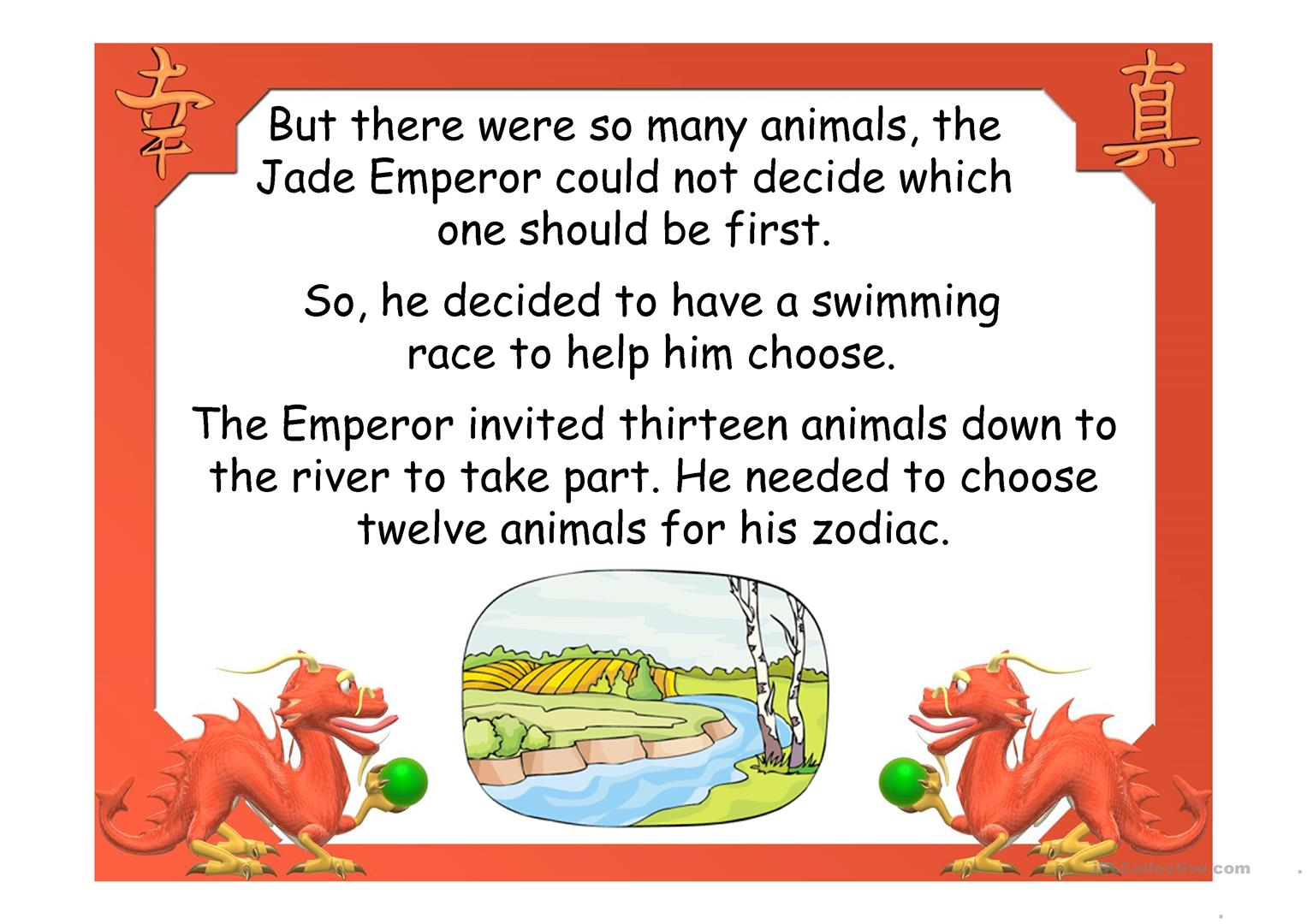 Chinese Zodiac Animals Story Worksheet