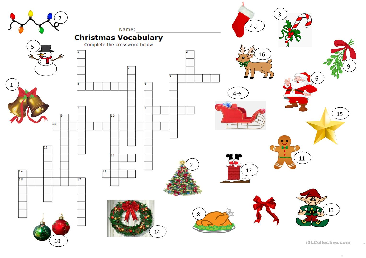 History Worksheet Christmas Esl