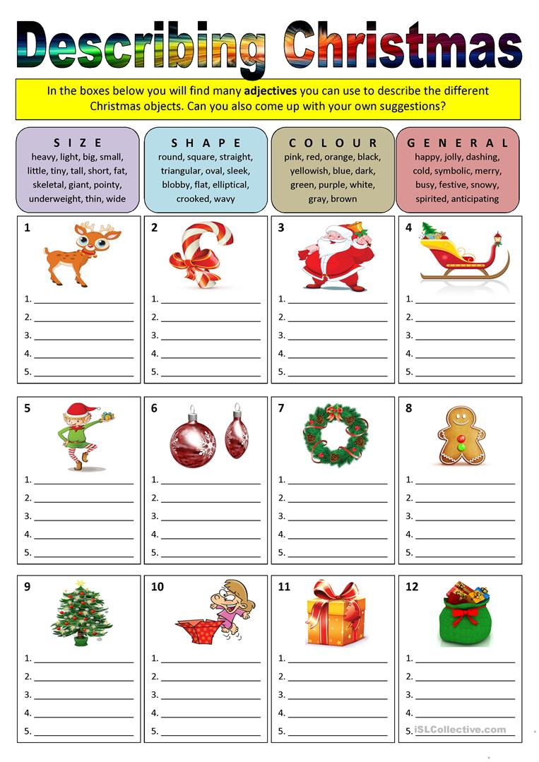 hight resolution of Describing Christmas (adjectives) - English ESL Worksheets for distance  learning and physical classrooms