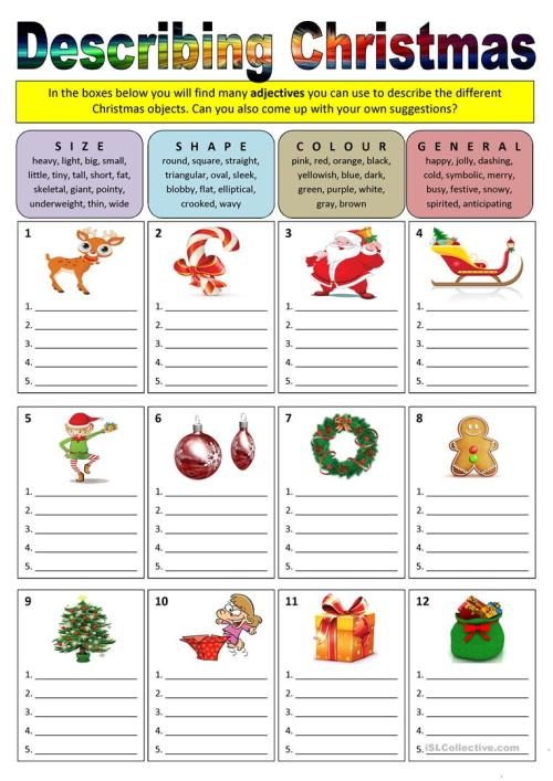 small resolution of Describing Christmas (adjectives) - English ESL Worksheets for distance  learning and physical classrooms