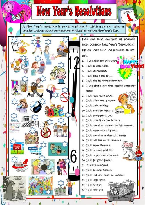 small resolution of English ESL new year worksheets - Most downloaded (202 Results)
