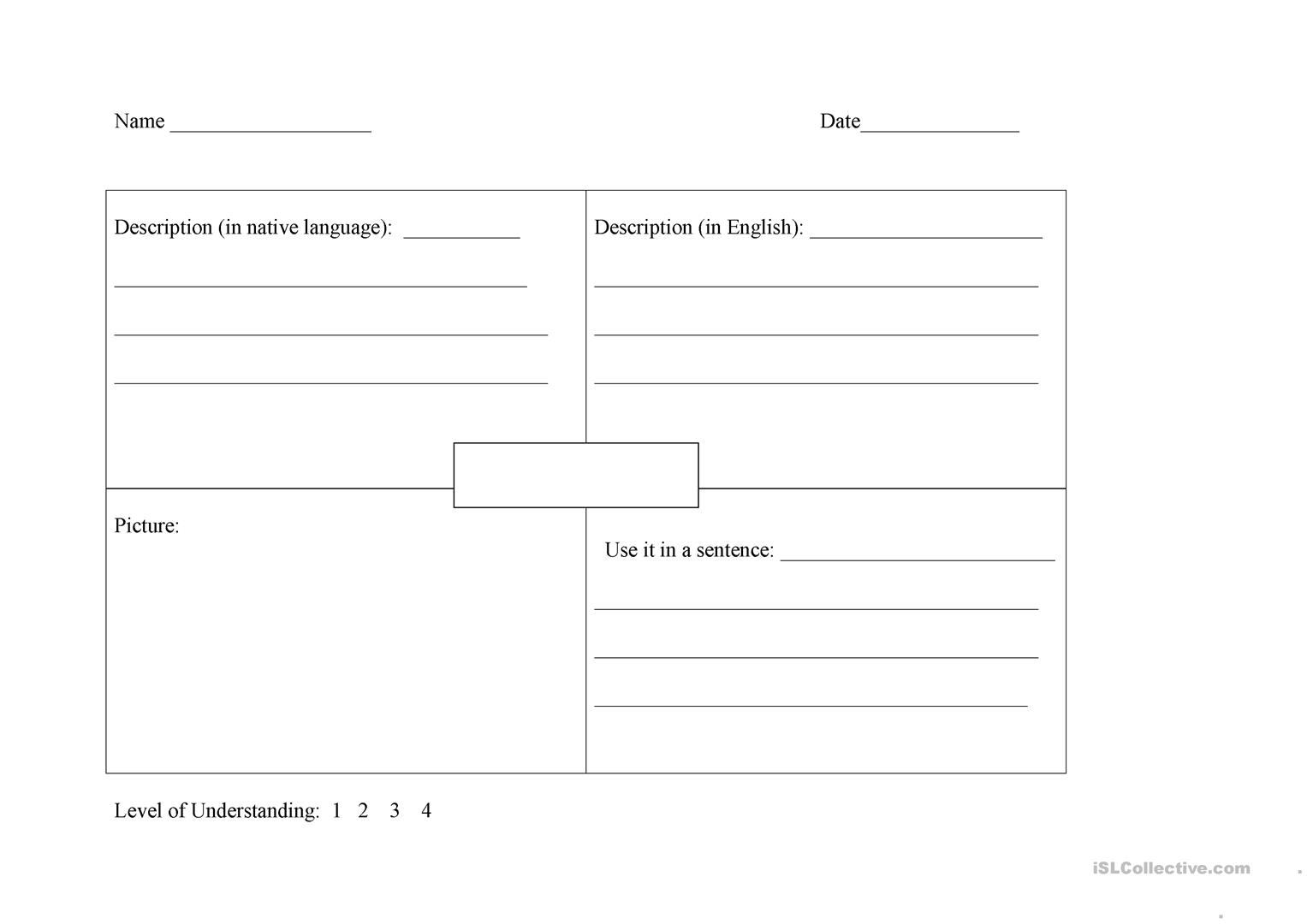 Esl Graphic Organizer Worksheet