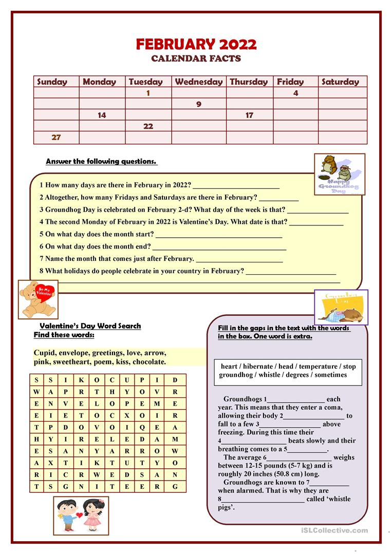 medium resolution of FEBRUARY 2021 Calendar facts - English ESL Worksheets for distance learning  and physical classrooms