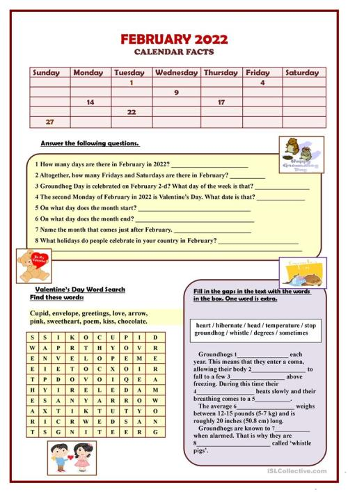 small resolution of FEBRUARY 2021 Calendar facts - English ESL Worksheets for distance learning  and physical classrooms