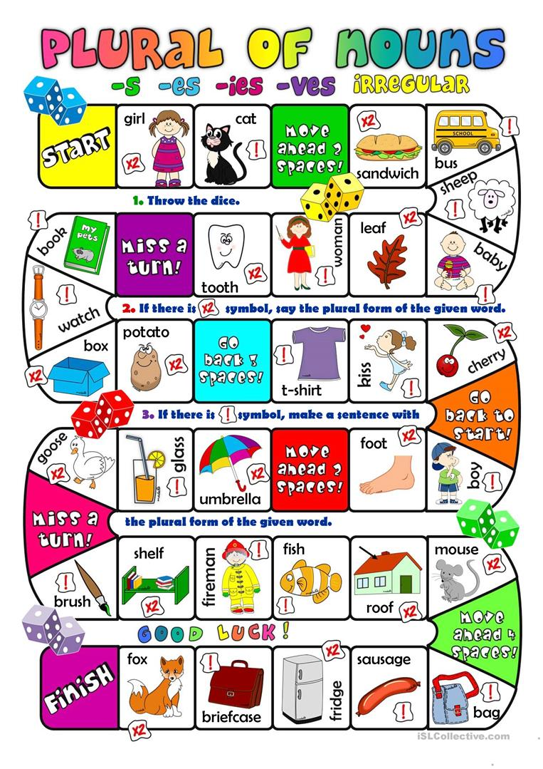 Plural of nouns - boardgame - English ESL Worksheets for distance learning and physical classrooms