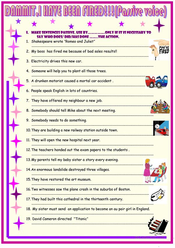 Passive Voice Multiple Exercises English Esl Worksheets For Distance  Learning And Physical Dubai Khalifa