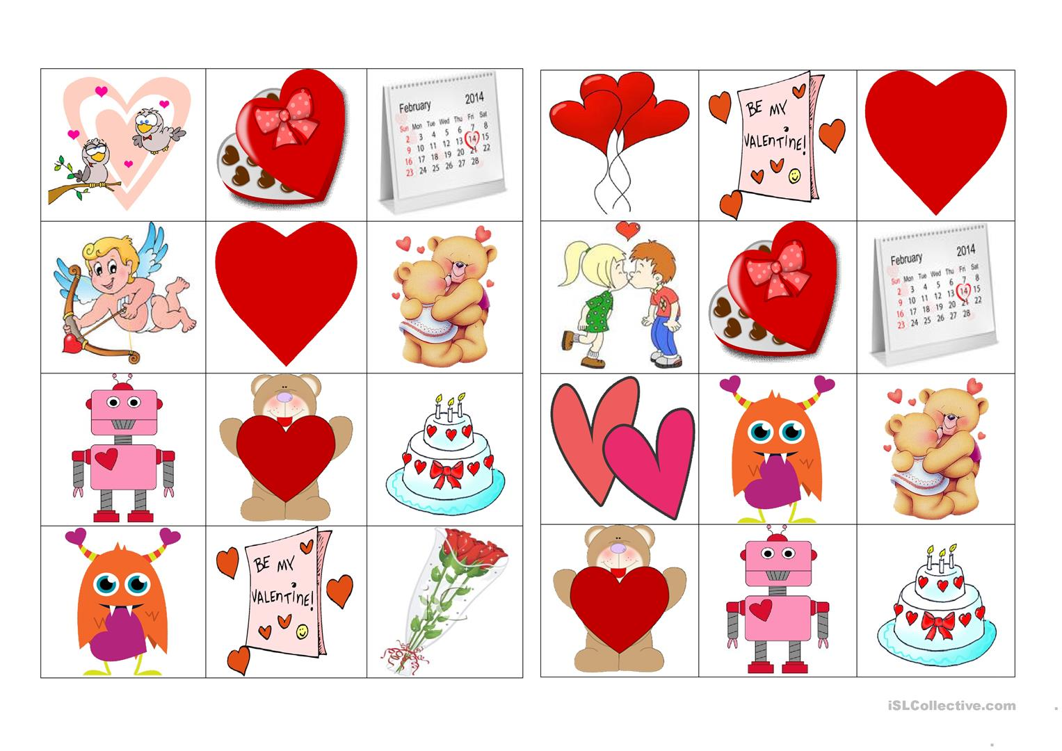 Bingo Valentine S Day Worksheet