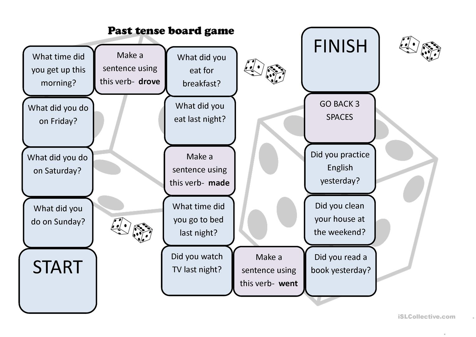 Past Tense Questions Board Game