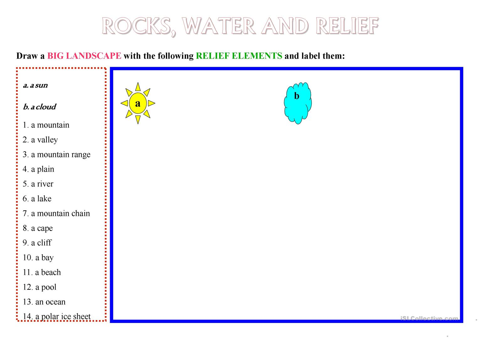 Rocks Water And Relief Worksheet