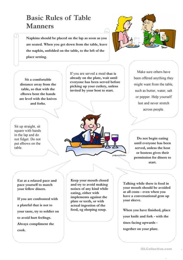 table manners worksheet | Brokeasshome.com