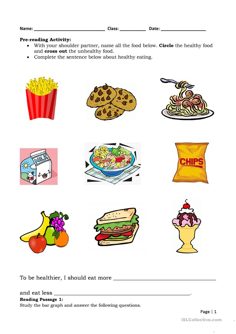 hight resolution of Food and Health - English ESL Worksheets for distance learning and physical  classrooms