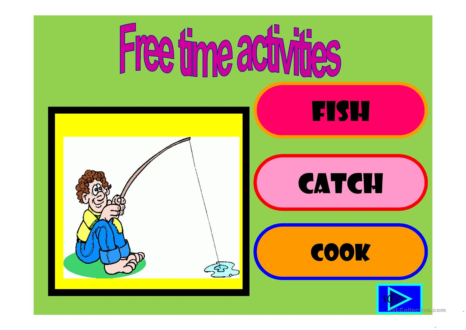 Free Time Activities Multiple Choice Activity Worksheet