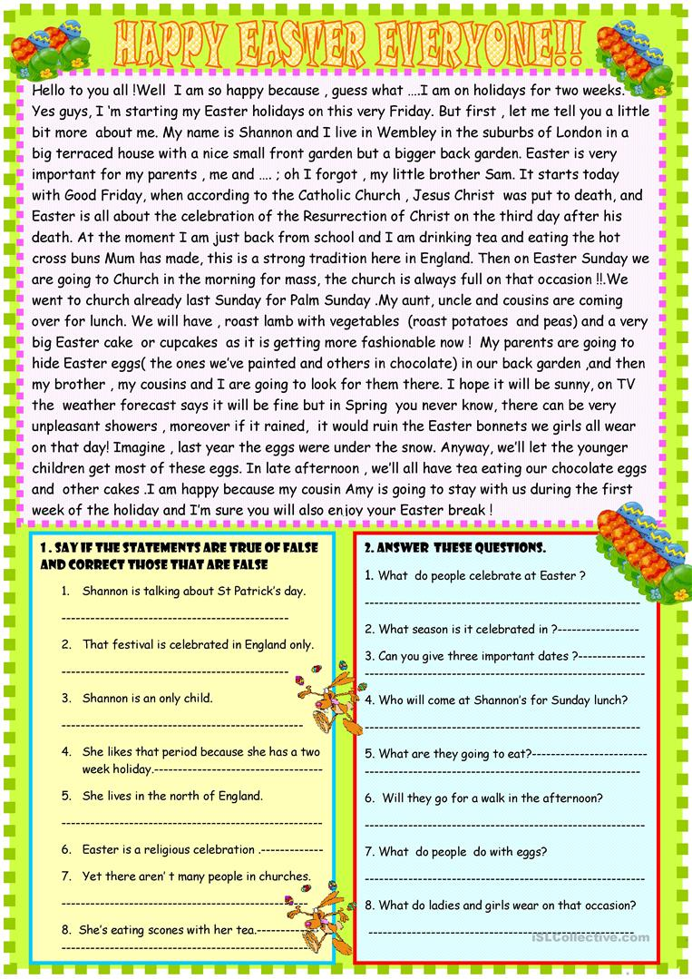 medium resolution of Happy Easter reading comprehension - English ESL Worksheets for distance  learning and physical classrooms