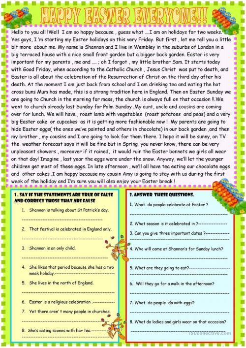 small resolution of Happy Easter reading comprehension - English ESL Worksheets for distance  learning and physical classrooms