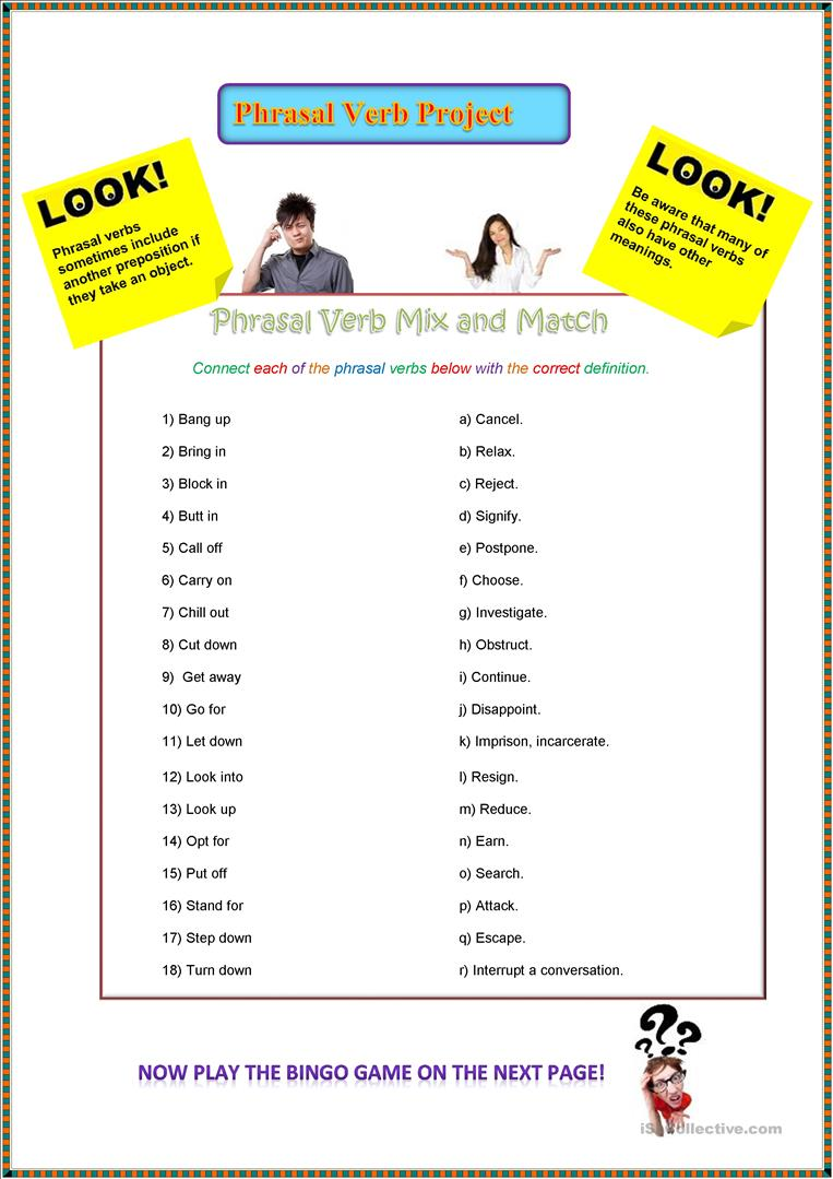 medium resolution of Mixed Phrasal Verb Project - English ESL Worksheets for distance learning  and physical classrooms