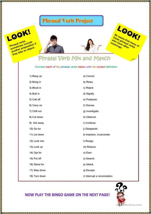 small resolution of Mixed Phrasal Verb Project - English ESL Worksheets for distance learning  and physical classrooms