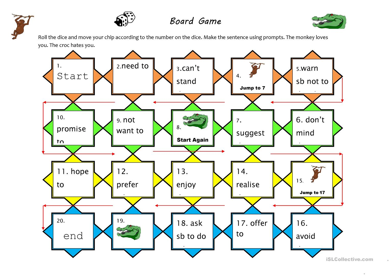 Verb Pattern Board Game Worksheet