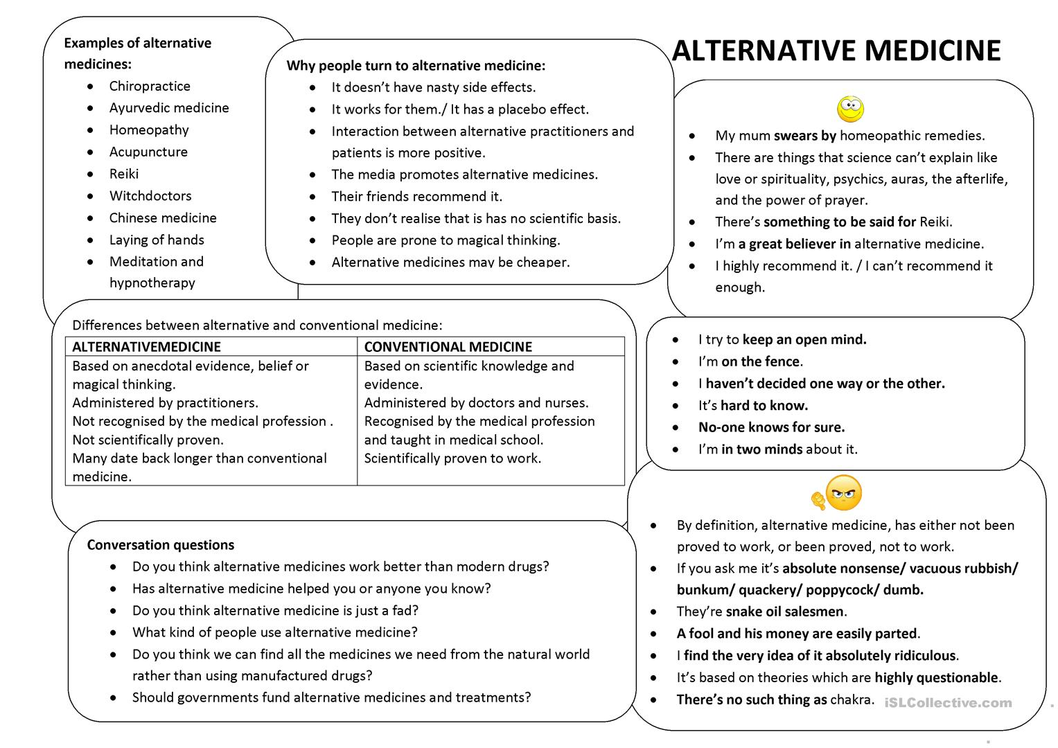 Alternative Medicine Conversation Class Worksheet
