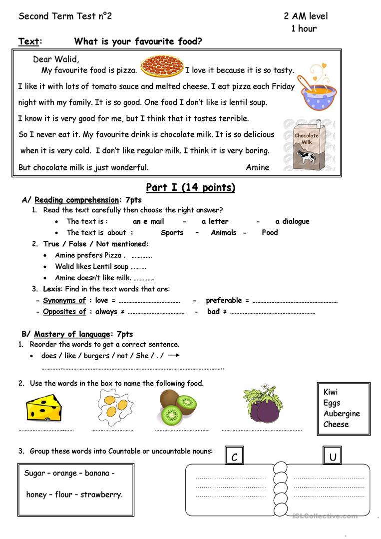 What is your favourite food? - English ESL Worksheets for distance learning and physical classrooms