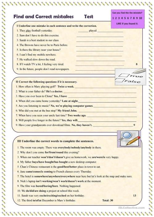 small resolution of Find and correct mistakes Test - English ESL Worksheets for distance  learning and physical classrooms