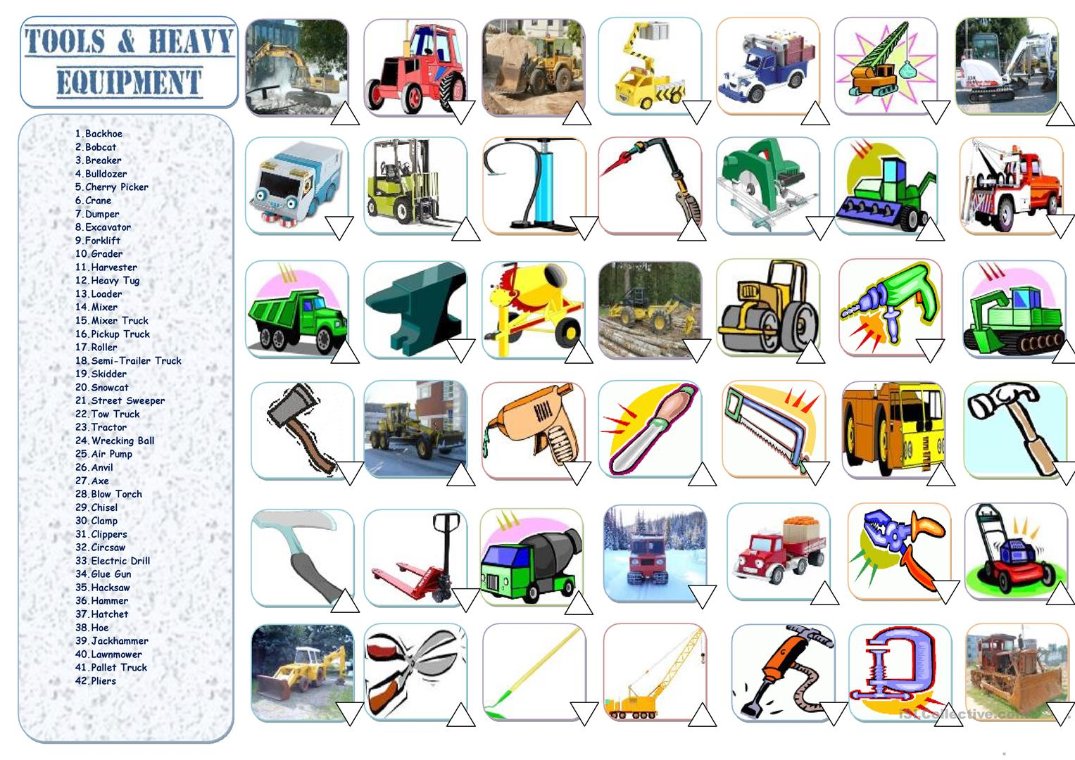 Heavy Equipment Amp Tools Worksheet