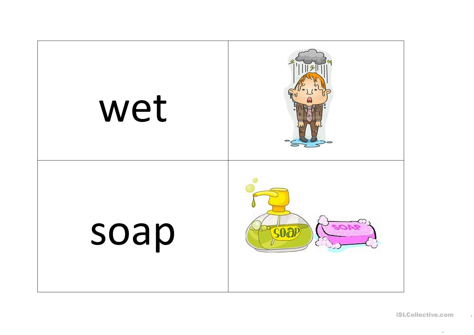 Washing Your Hand Vocabulary And Memory Game Worksheet