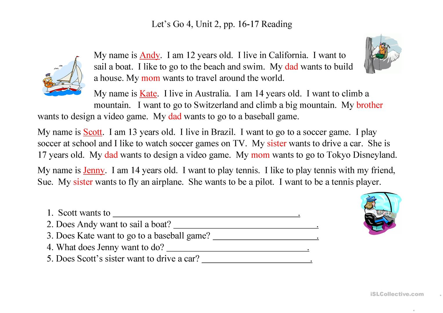 Let S Go 4 Unit 2 Reading Worksheet