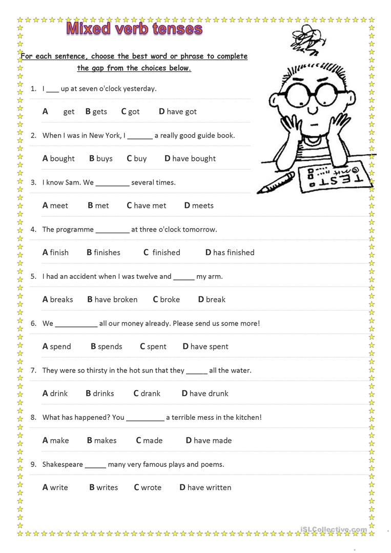 medium resolution of Mixed Verb Tenses - English ESL Worksheets for distance learning and  physical classrooms