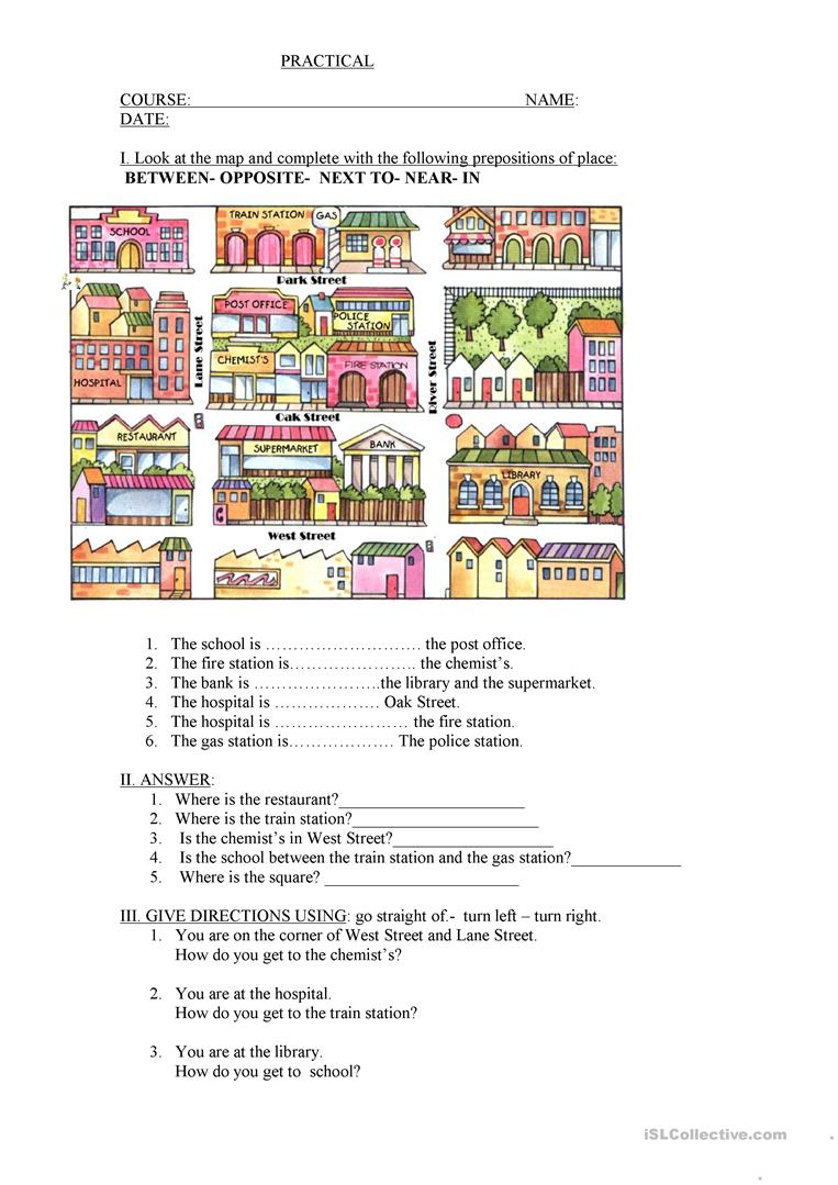 hight resolution of The city- prepositions - English ESL Worksheets for distance learning and  physical classrooms