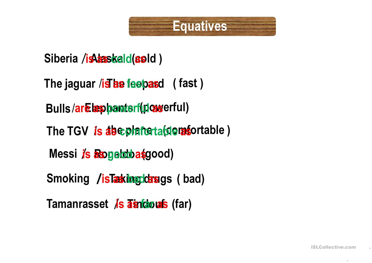 Comparatives Superlatives Equatives Worksheet