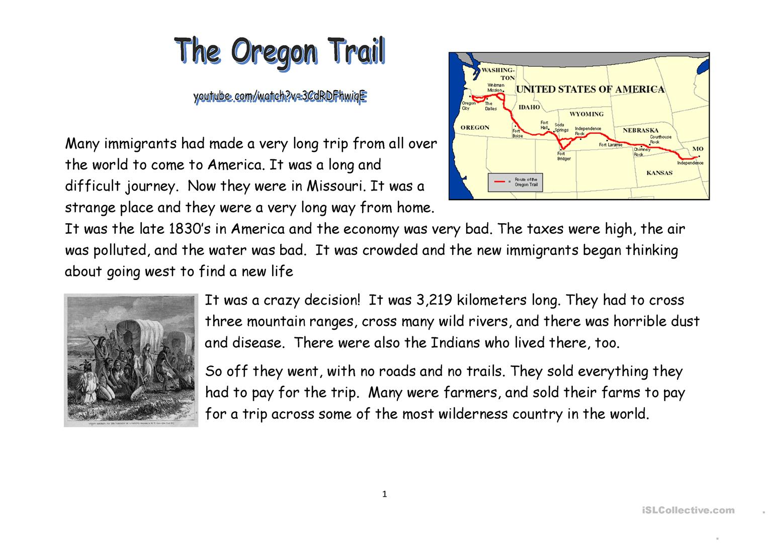 Oregon Trail Reading And Video