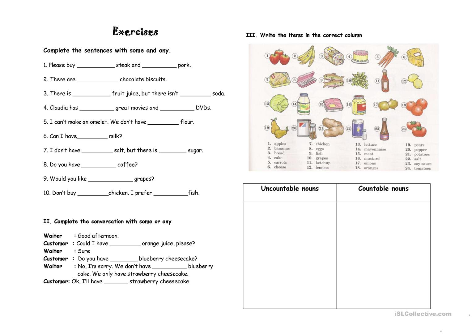 Some Any Nouns Worksheet