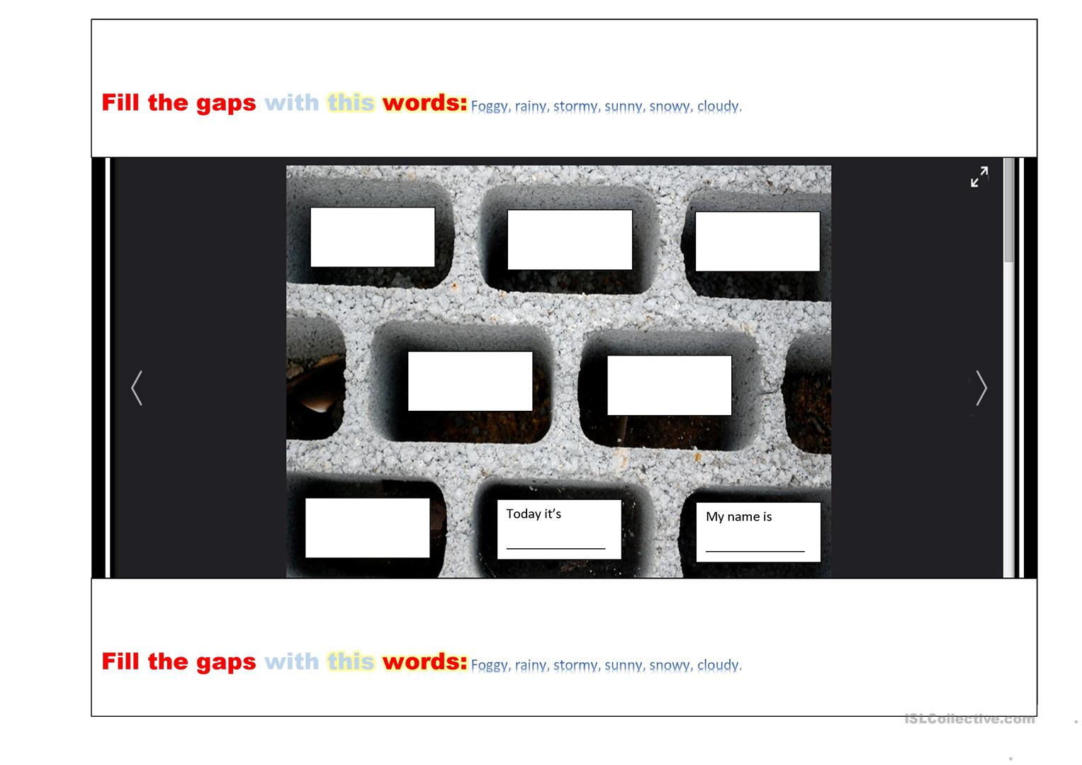 Teahing The Weather Using Repetition Worksheet