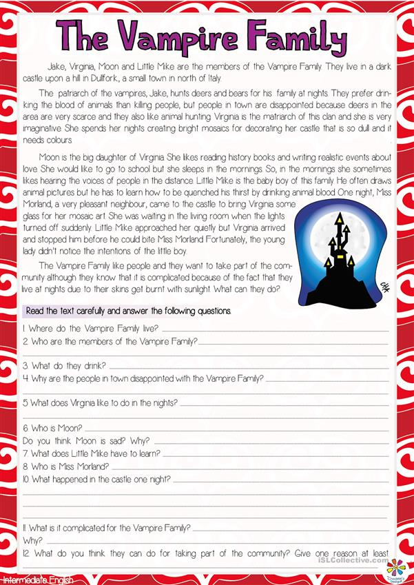 The Vampire Family Reading Comprehension Worksheet