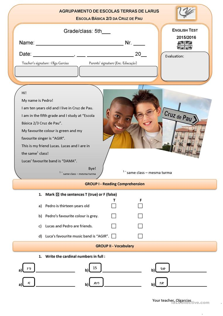 medium resolution of 5th grade English Test - English ESL Worksheets for distance learning and  physical classrooms