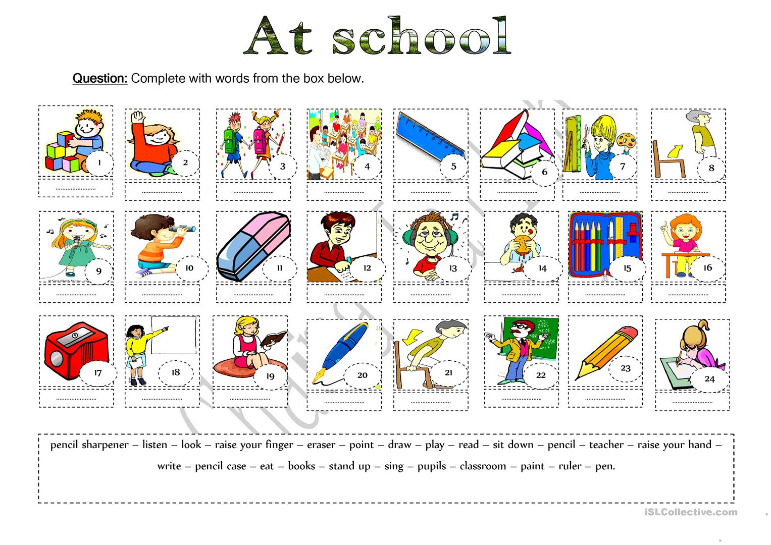 Classroom Vocabulary Worksheet