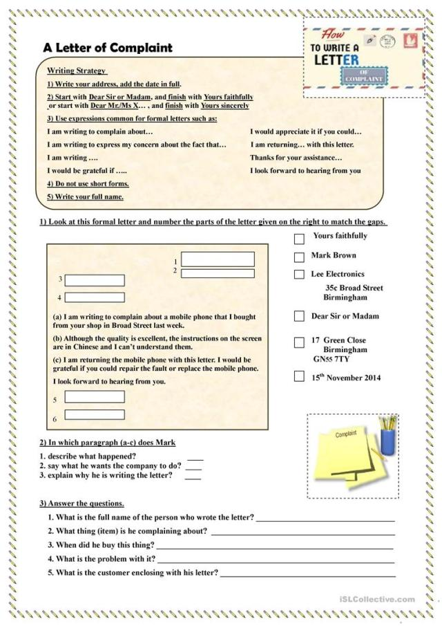 How to write a Letter of Complaint - English ESL Worksheets for
