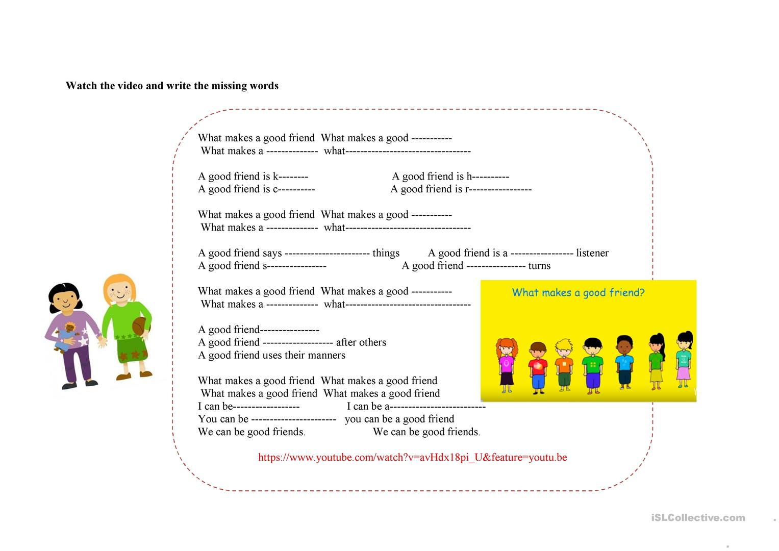 32 What Makes A Good Friend Worksheet