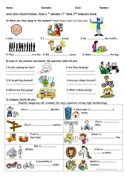 small resolution of 6th grade 2nd exam - English ESL Worksheets for distance learning and  physical classrooms