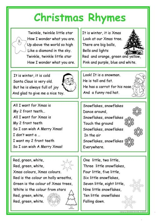 small resolution of English ESL rhymes worksheets - Most downloaded (51 Results)