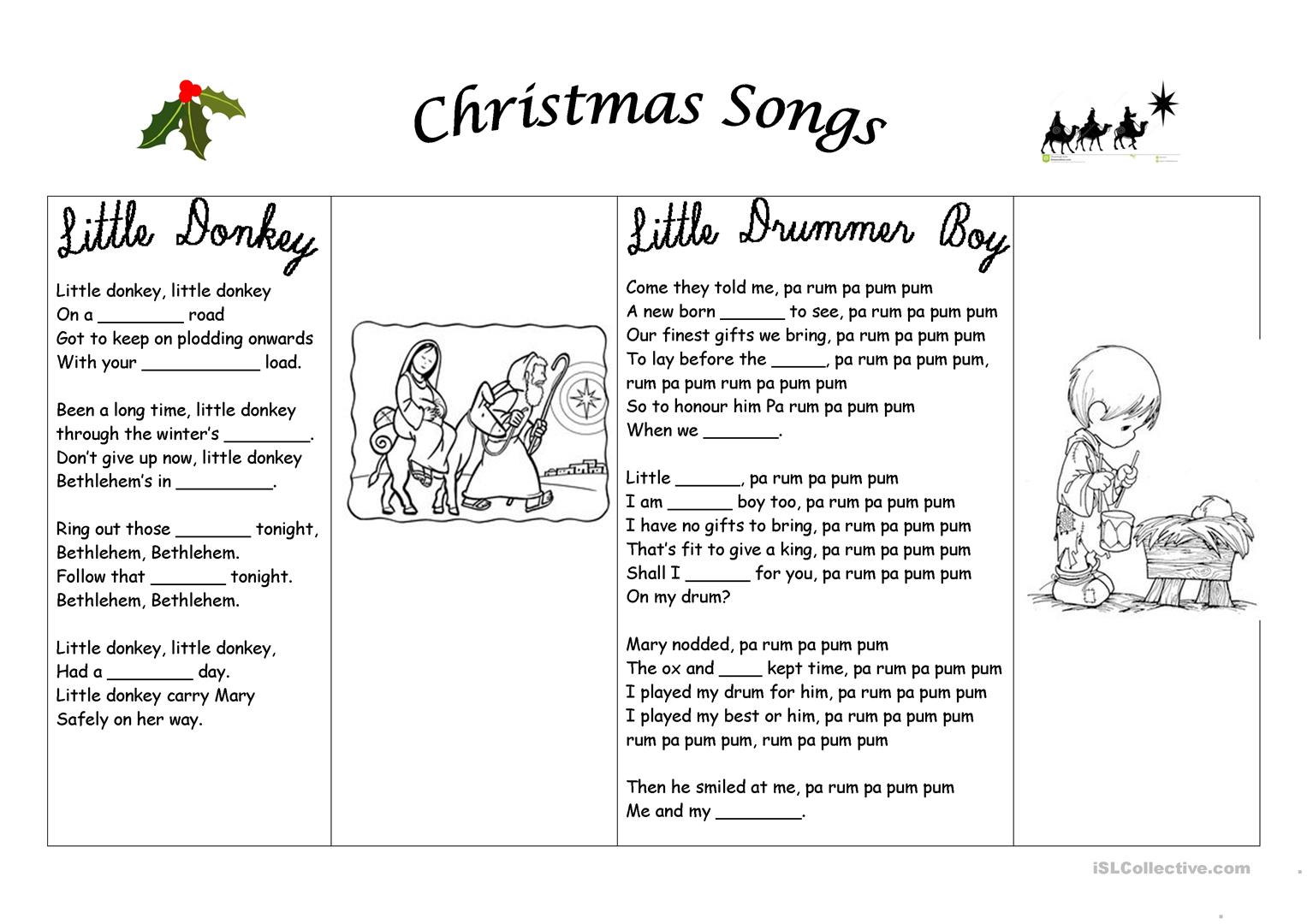 Christmas Songs Worksheet